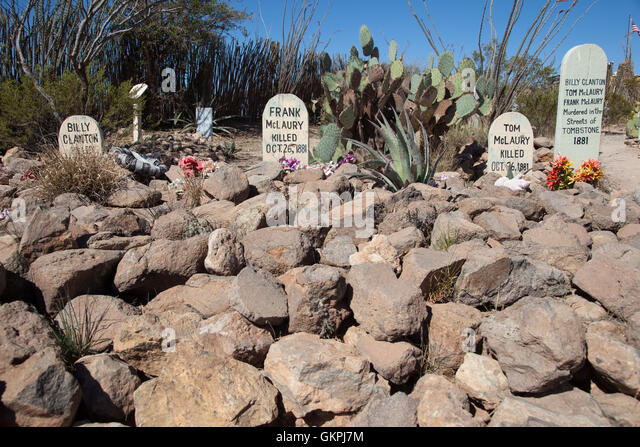The grave markers of Frank McLaury, Tom McLaury and Billy Clayton murdered on the streets of in 1881. - Stock Image