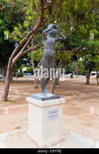 Statue in Larnaca theatre grounds, Larnaca, Cyprus. - Stock Image