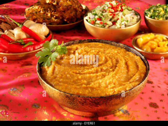 INDIAN DAAL SERVING DISH - Stock Image