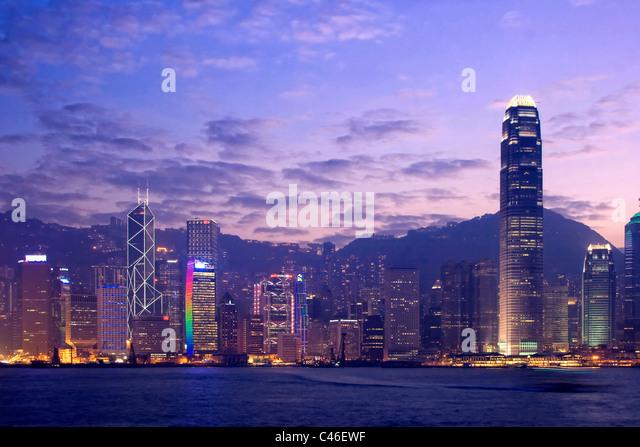 Victoria Harbour and Hong Kong Skyline, Hong Kong, China - Stock Image