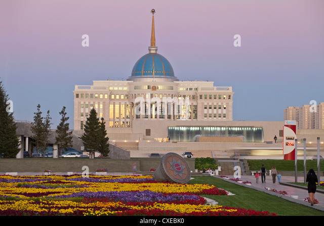 The Ak Orda, Presidential Palace of President Nursultan Nazarbayev at twilight, Astana, Kazakhstan, Central Asia, - Stock Image