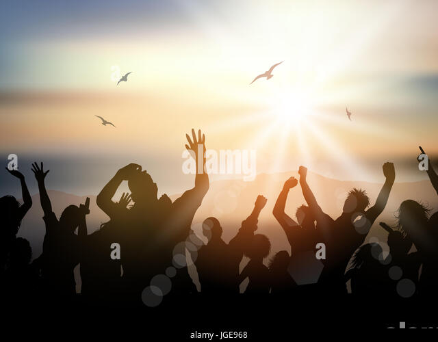 Silhouette of a party crowd on a summer background - Stock Image
