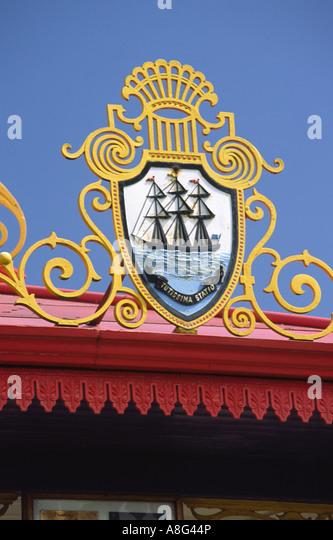 Stair Park Stranraer emblem depicting Stranraers seafaring heritage of the town on bandstand Scotland UK - Stock Image