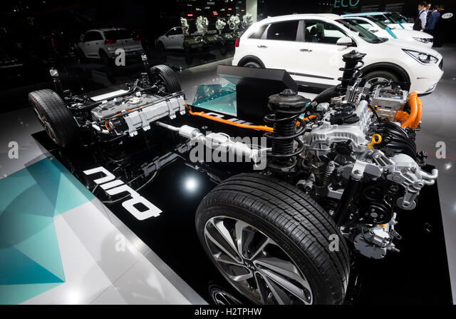 View of Engine and chassis of new Kia Niro crossover hybrid vehicle at Paris Motor Show 2016 - Stock Image