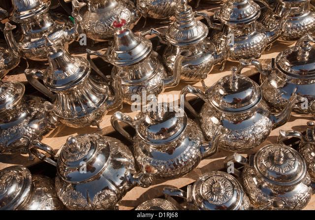 Morocco, Marrakech, Market. Teapots for sale. - Stock Image