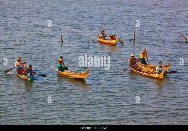 fischermen on Taungthaman Lake, Burma, Amarapura - Stock-Bilder