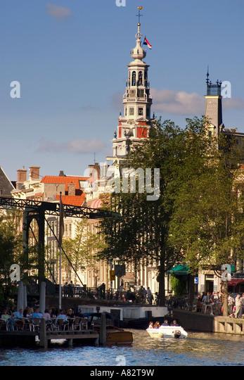 Amsterdam Kloveniersburgwall canal drawbridge Zuiderkerk - Stock Image