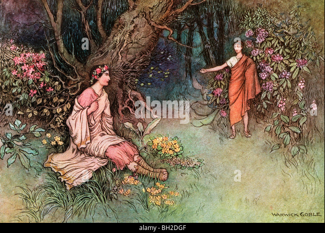 The Meeting in the Woods, by Warwick Goble, from The Complete Poetical Works of Geoffrey Chaucer, 1912 - Stock Image