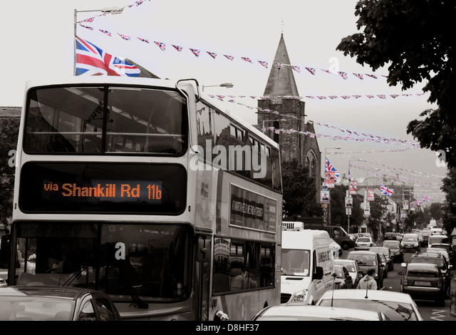 A bus journey down the Shankill Road , a very British and Unionist area of Belfast - Stock Image