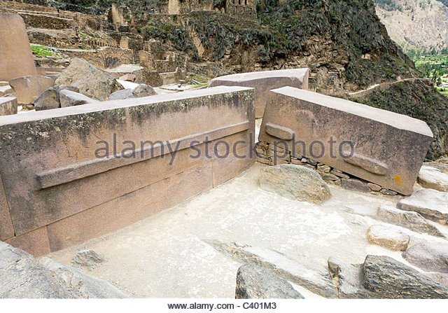 Inca megaliths at Ollantaytambo ruins, demonstrating how large stones weighing many tons were lifted into place. - Stock Image