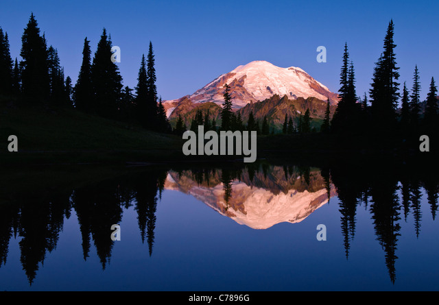 Mount Rainier and reflection in Upper Tipsoo Lake at sunrise; Mount Rainier National Park, Washington. - Stock Image