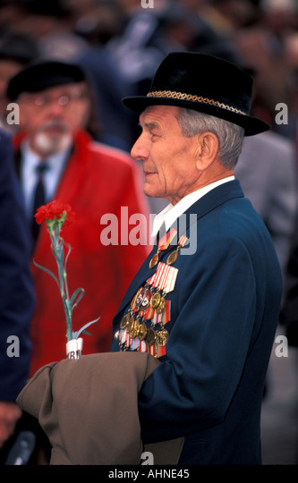 Moscow Russia Decorated War Veteran Wearing Medals - Stock Image
