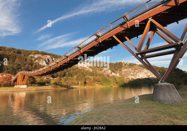 Wooden bridgeTatzelwurm, Main-Donau-Kanal canal, Essing, nature park, Altmuehltal Valley, Bavaria, Germany, Europe - Stock Image