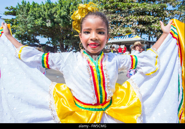 Participant in the Barranquilla Carnival in Barranquilla , Colombia - Stock Image