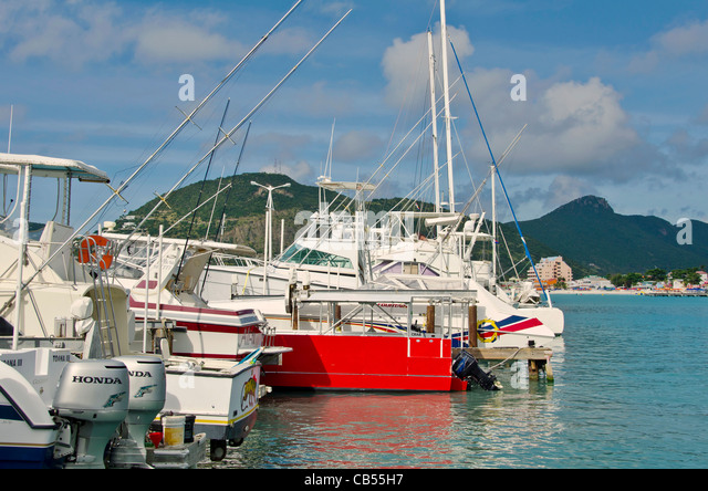 St Maarten Philipsburg marina with sailboats and motor boats - Stock Image
