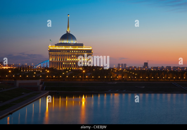 The Ak Orda, Presidential Palace of President Nursultan Nazarbayev at dawn, Astana, Kazakhstan, Central Asia, Asia - Stock Image