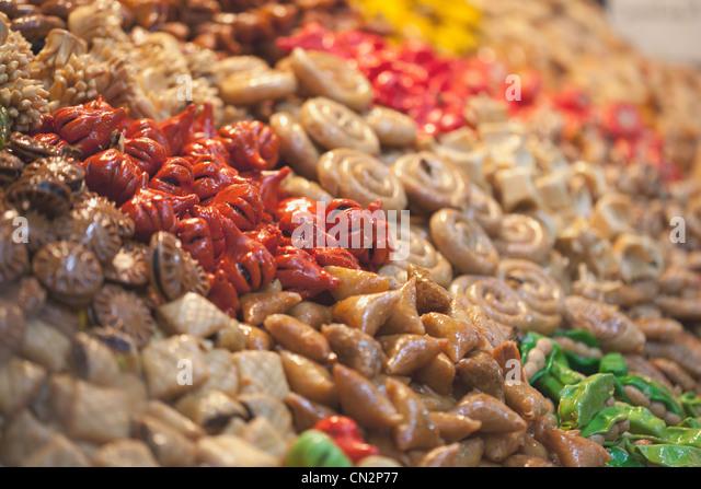 Moroccan food in market - Stock-Bilder