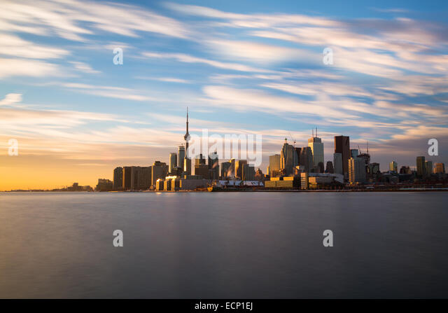 The Toronto skyline from the East at sunset taken with a long exposure - Stock Image
