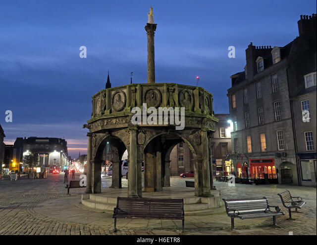 Castle Square, Aberdeen Scotland at dusk - Stock Image
