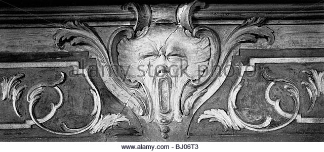 Detail from a stucco decoration in the Portego leading to the Ballroom, Palazzo Zenobio, Venice, Italy - Stock-Bilder