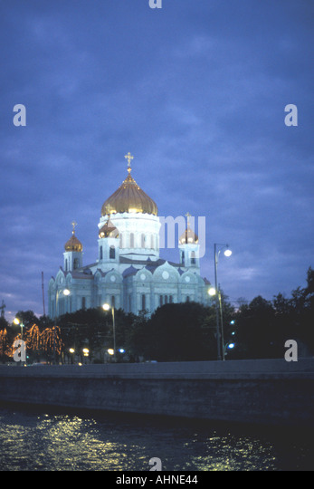 Moscow Russia Christ of the Savior Cathedral at twilight city landmark - Stock Image