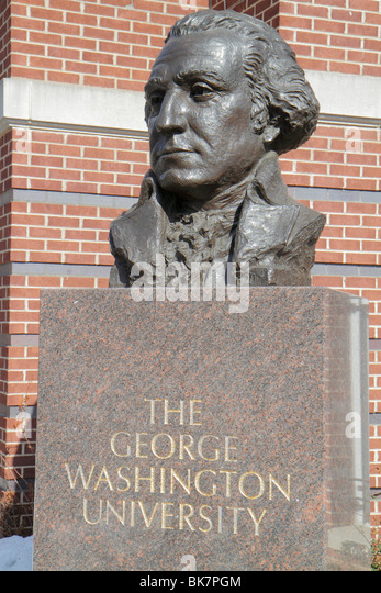 Washington DC 23rd Street NW The George Washington University higher education bronze bust statue head campus likeness - Stock Image
