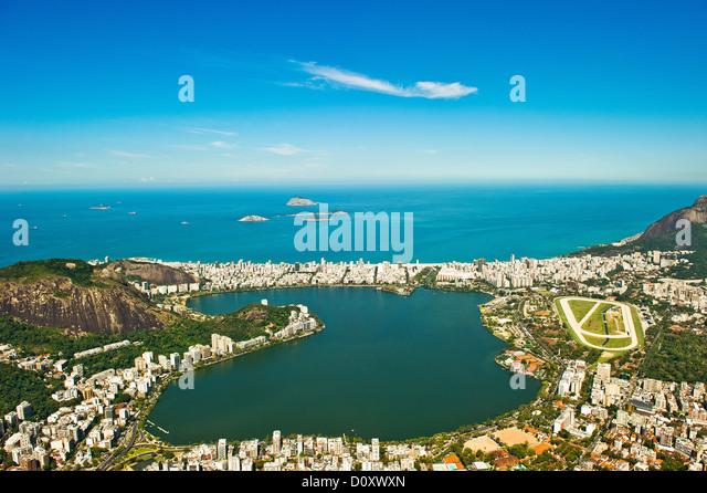 Aerial view of Lagoa Rodrigo de Freitas, Rio de Janeiro, Brazil - Stock Image