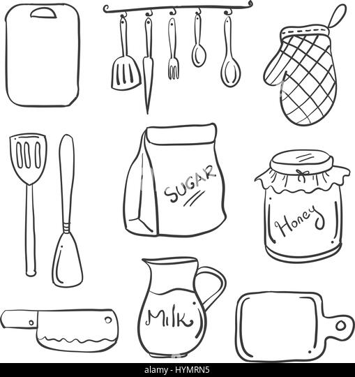 Kitchen set hand draw cartoon stock photos kitchen set for Kitchen set drawing
