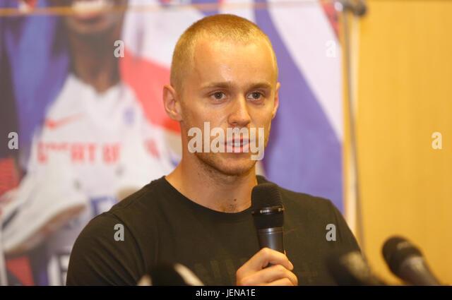 Ostrava, Czech Republic. 27th June, 2017. Javelin thrower Jakub Vadlejch (Czech) attends the press conference prior - Stock-Bilder
