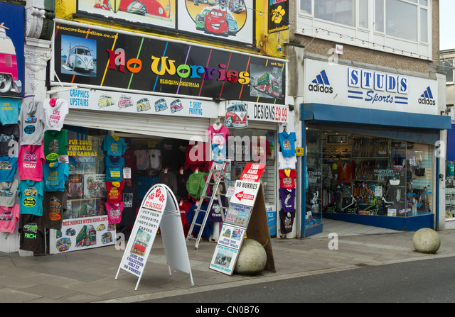 Shops in Newquay Cornwall UK. - Stock Image