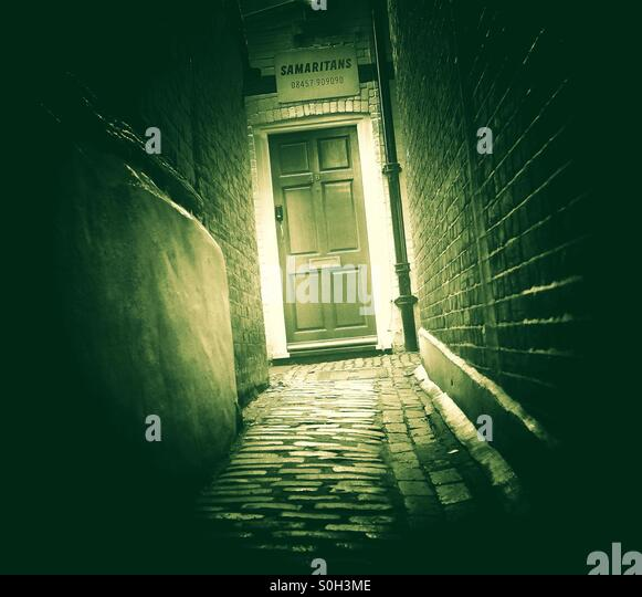 Light at the end of the tunnel - The Samaritans door offering help to those in need - Stock-Bilder