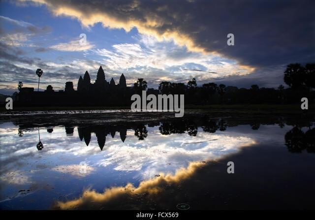 Sunrise on Angkor Vat, Cambodia - Stock Image
