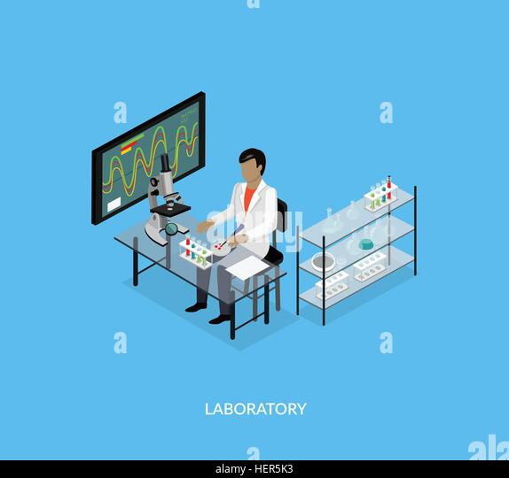 Science lab isomatric design flat. 3D Science and scientist, science laboratory, lab chemistry, research scientific, - Stock-Bilder