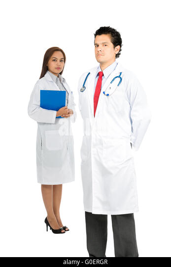 Latino Asian Team Doctors Serious Caring V - Stock Image