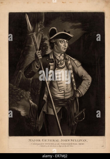 Major general John Sullivan, a distinguish'd officer in the Continential sic Army. Print shows John Sullivan, - Stock Image