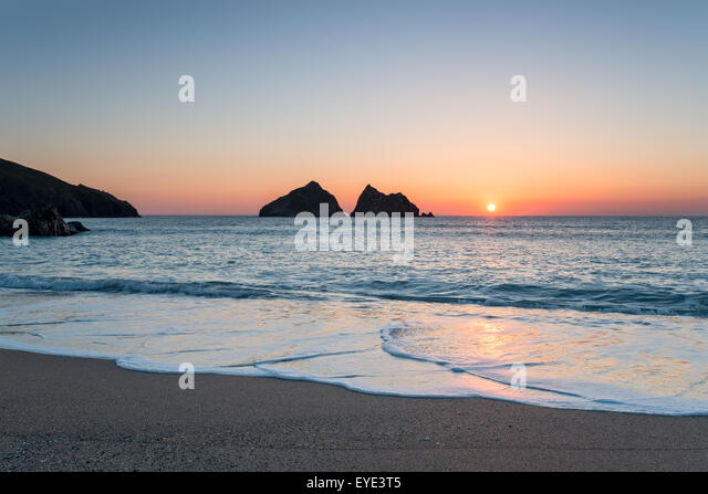 Beautiful sunset at Holywell Bay, a large sandy beach near Newquay in Cornwall - Stock Image