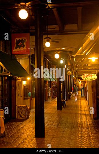 Bermuda Dockyard Clocktower shopping mall lamp posts - Stock Image