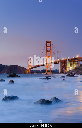 USA, California, San Francisco, Baker's Beach and Golden Gate Bridge - Stock-Bilder