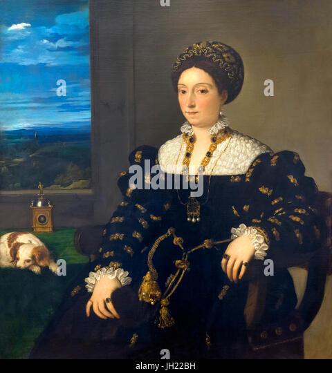 Portrait of Eleanora Gonzaga, by Titian, 1537, Uffizi Gallery, Florence, Tuscany, Italy, Europe - Stock Image