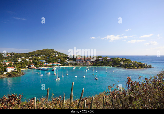 Caribbean, US Virgin Islands, St. John, Virgin Islands National Park, Lind Point trail, Cruz Bay - Stock-Bilder