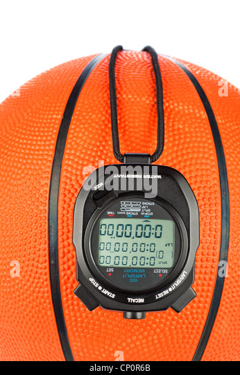 A basketball sports theme with a digital stopwatch for use with most sports inferences where games are timed. - Stock Image
