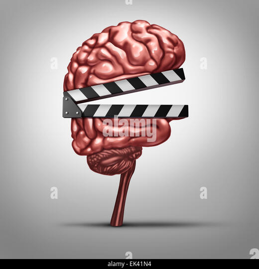 Learning video and education clips or instruction online as a clapboard shaped as a human brain as a tool for educating - Stock Image