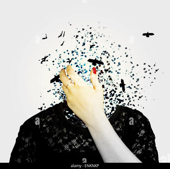 birds, dispersion, hand, female, fantasy, fairytale, creative photography, color photography, portraiture, model, - Stock Image