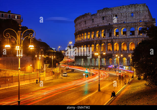 Colosseum at night - Stock Image