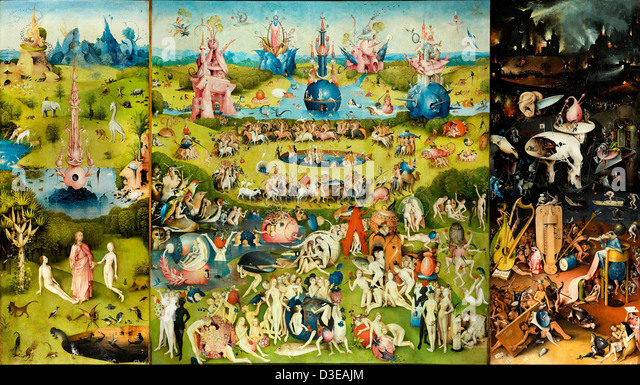 Hieronymus Bosch, The Garden of Earthly Delights 1503–1504 Oil on wood. Museo del Prado, Madrid, Spain - Stock Image