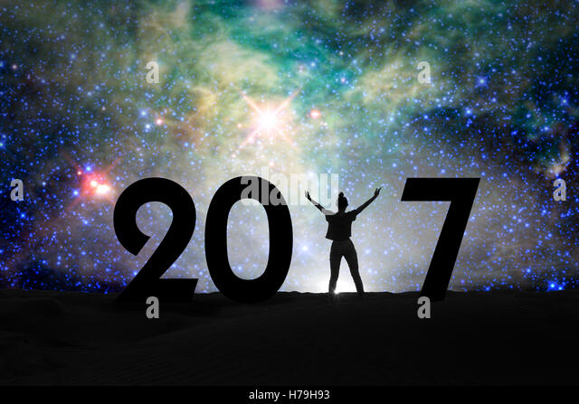 2017, silhouette of a woman and starry night, 2017 new year concept - Stock Image