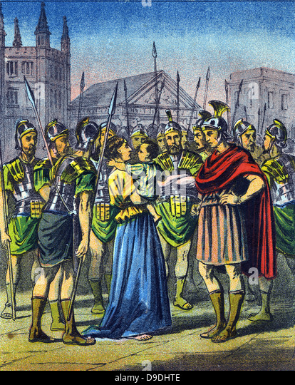 Harassment and persecution of Christians in the Roman Empire during the 4th century..  Mid-19th century illustration - Stock Image