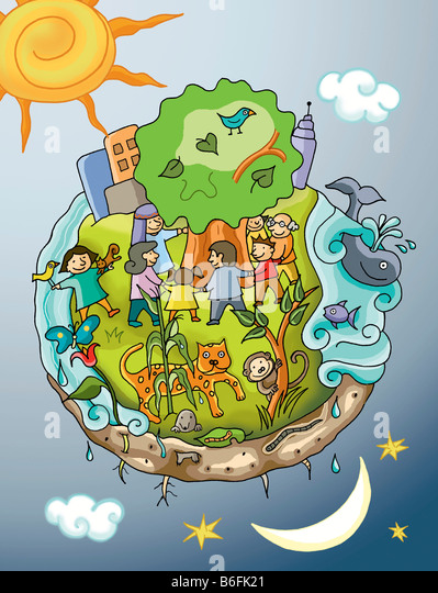 Illustration world and enviroment - Stock Image