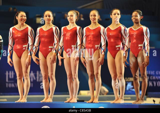 Team USA (USA) line-up during the 2011 Artistic Gymnastics World Championships. - Stock-Bilder