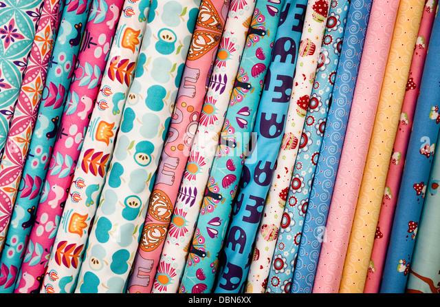 Rolls Of Fabric, Munich, Bavaria, Germany, Europe - Stock Image